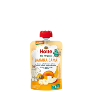 Holle Banana Lama tasakos bio gyümölcspüré banán, alma, mangóval és sárgabarackkal 100g