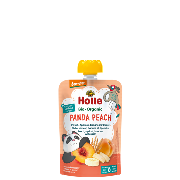 Holle Panda Peach bio tasakos püré őszibarack, sárgabarack, banán tönköllyel 100g