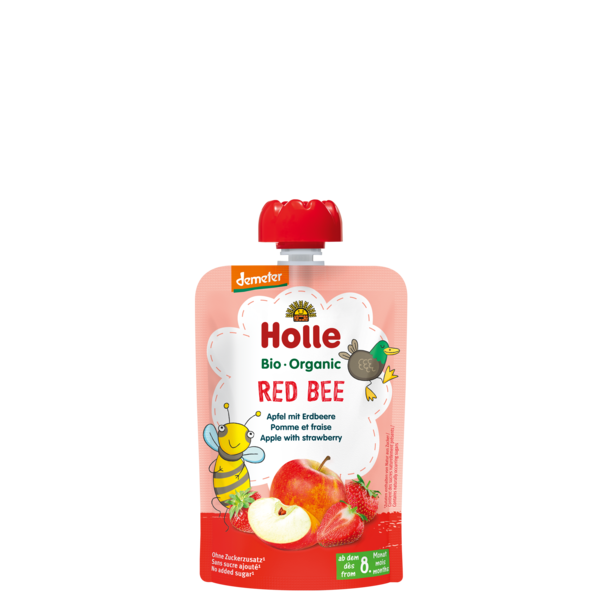 Holle Red Bee bio tasakos gyümölcspüré alma eperrel 100g