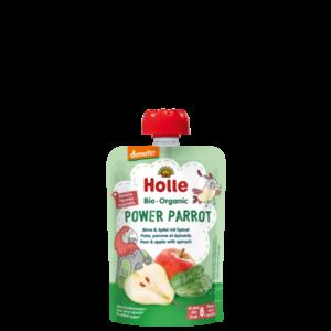 Holle bio bébiétel tasakos püré Power Parrot körte alma spenót