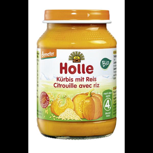 Holle_bio_üveges_bébiétel_ sütőtök_rizzsel_4_hónapos_kortól_190g