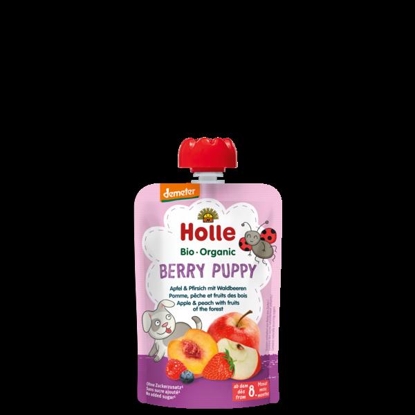 Holle bio bébiétel tasakos püré Berry Puppy alma őszibarack erdei gyümölcs