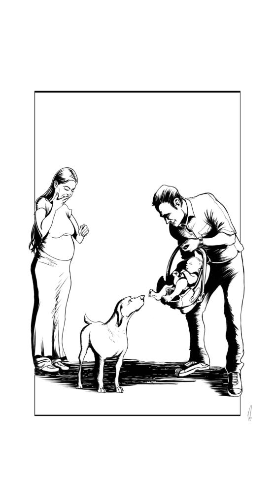 kisbaba születik- kutya a családbana